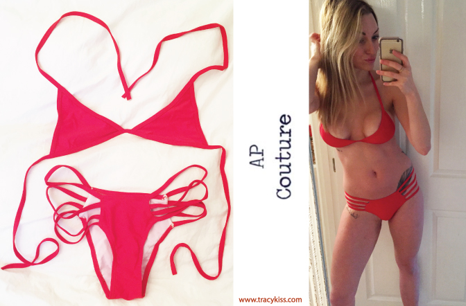 ap couture red spaghetti string bikini tracy kiss