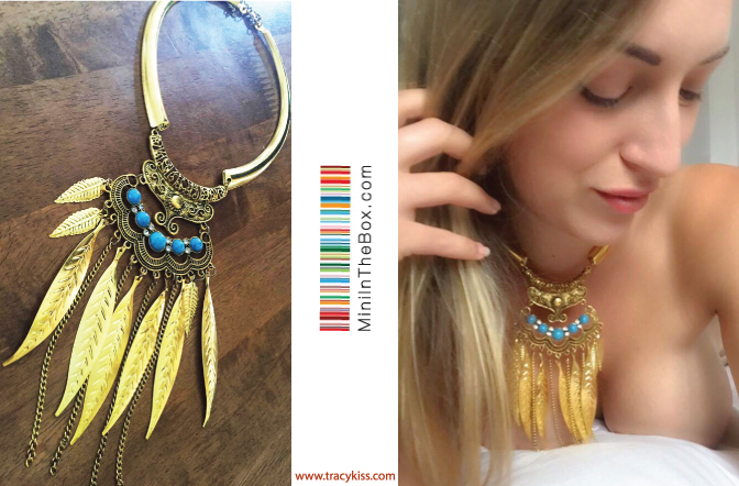 MiniInTheBox Gold Feather & Pearl Necklace